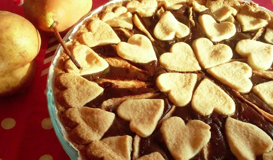 Crostata con crema pasticcera al cioccolato e pere